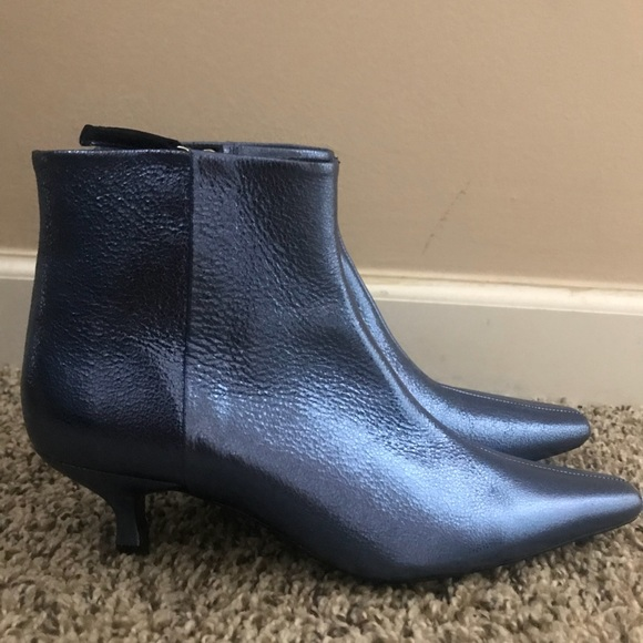4e5ff4496ef Zara Shoes   Light Blue Leather Boots With Kitten Heel   Poshmark